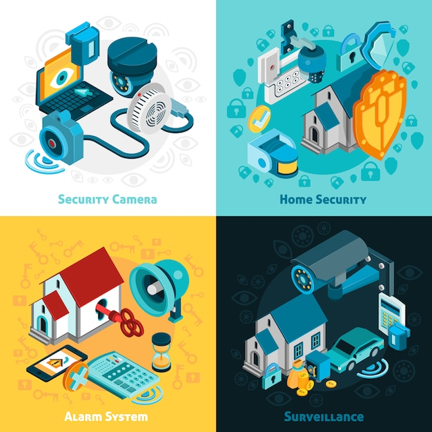 Security system concept icons set Free Vector