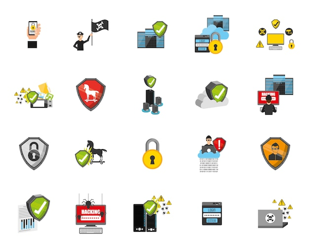 Security system icon set Free Vector
