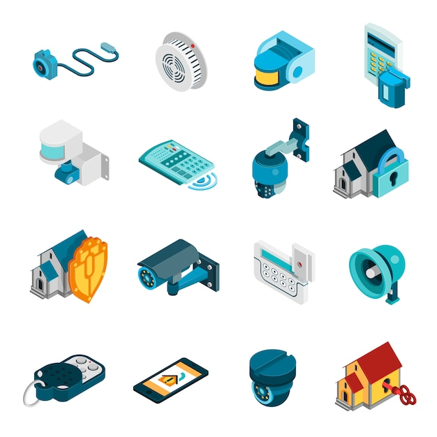 Security system icons set Free Vector