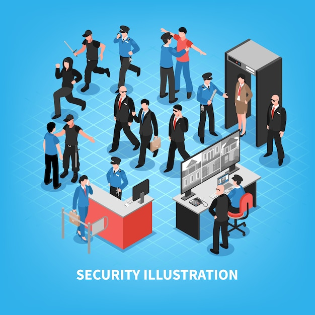 Security system isometric Free Vector