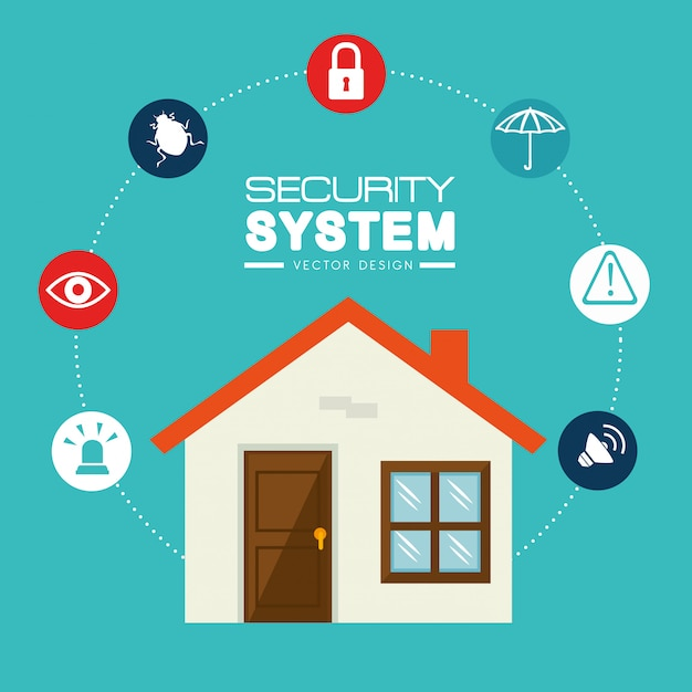 Security system and surveillance Premium Vector