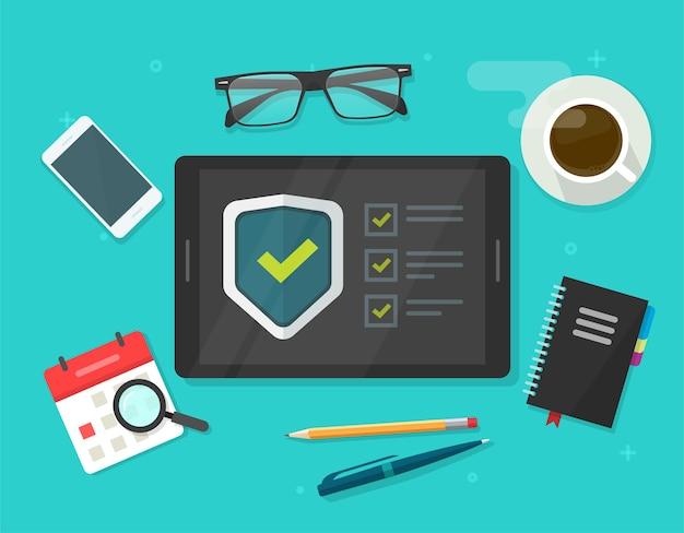 Контрольный список проверки безопасности цифровой тест, проверка контрольного списка шпионажа по мошенничеству с идентификацией на планшетном компьютере, защита стола рабочего стола онлайн, защита от интернет-вирусов, веб-защита, безопасная защита Premium векторы