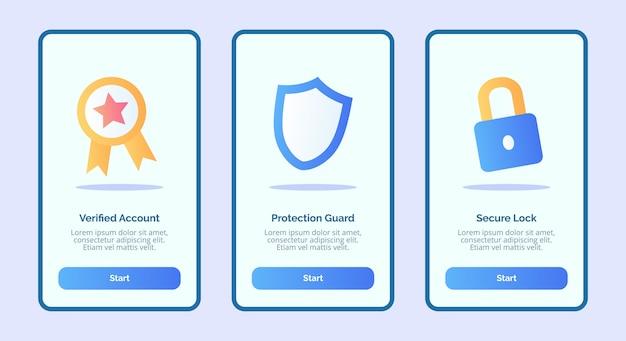 モバイルアプリテンプレートバナーページuiのセキュリティ検証済みアカウント保護ガードセキュアロック Premiumベクター