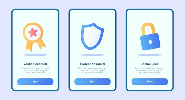 Security verified account protection guard secure lock for mobile apps template banner page ui Premium Vector