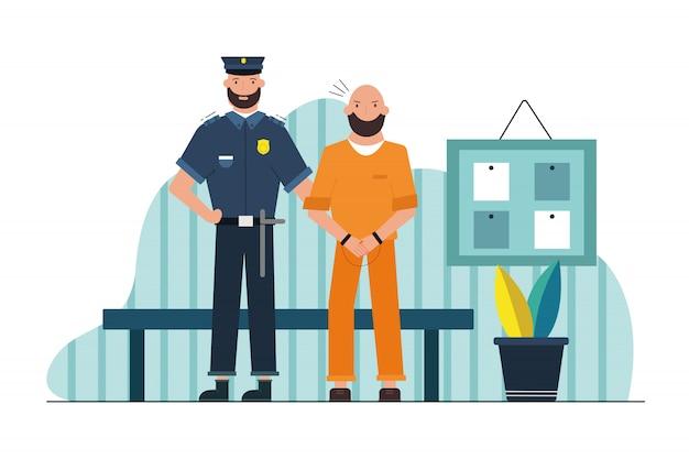 セキュリティ、仕事、危険、刑務所の概念。廊下で手錠をかけられて保持している男性の囚人を保持している若い深刻な男警官刑務官刑務所キャラクター。犯罪者の危険な職業投獄。 Premiumベクター