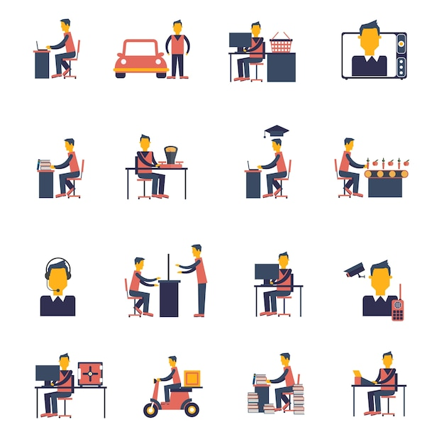 Sedentary icon flat Free Vector