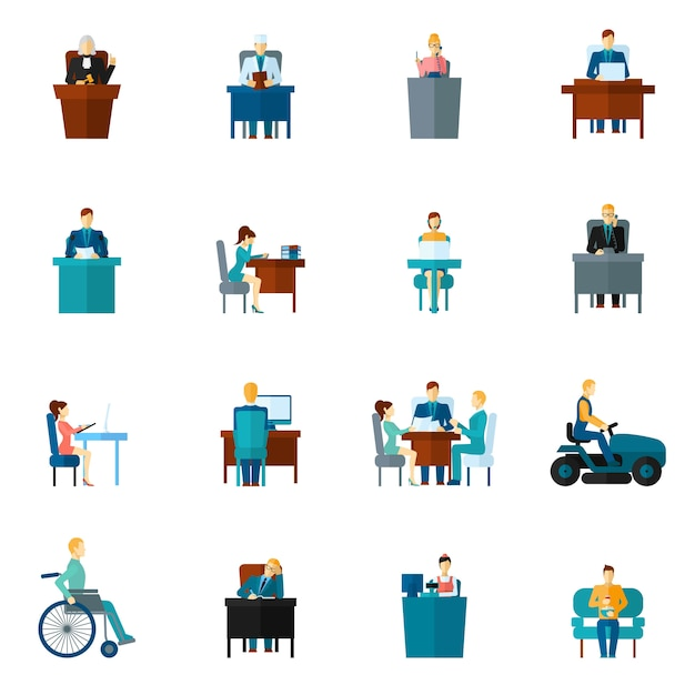 Sedentary icons flat Free Vector