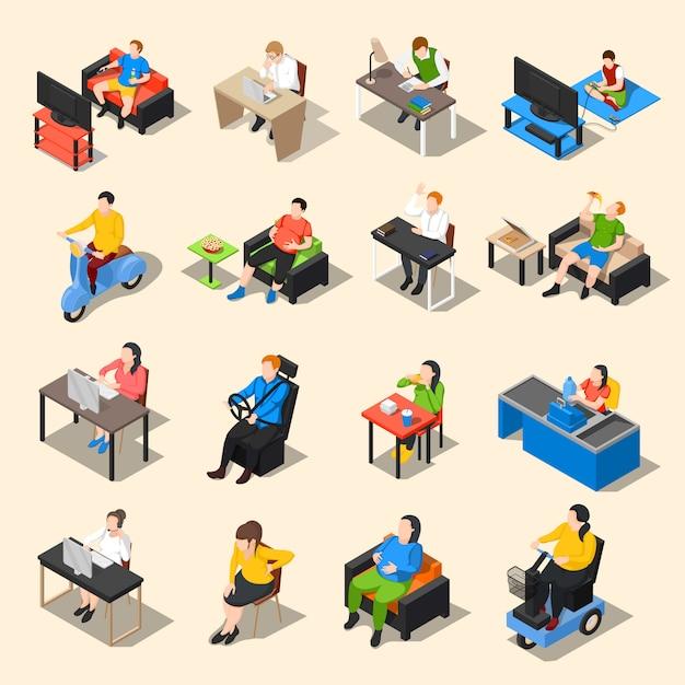 Sedentary life icon set Free Vector