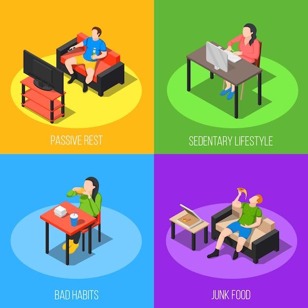 Sedentary lifestyle design concept Free Vector