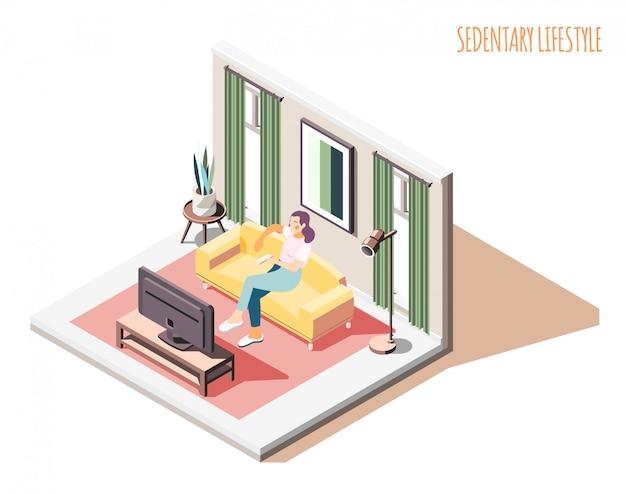 国内のインテリア環境とテキストが付いているソファーに座っている女性キャラクターと座りがちなライフスタイル等尺性組成物 無料ベクター