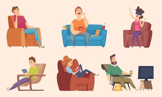 体を動かさない生活。テレビのベクトル漫画を見ている食べ物怠惰な作業脂肪不健康なキャラクターを食べてリラックスして座っている男性と女性。自宅のソファに座っている女性と男性のイラスト Premiumベクター