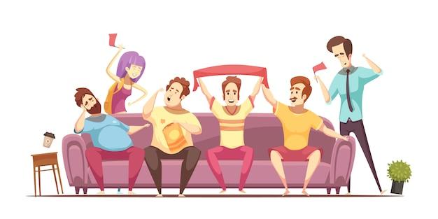 Sedentary lifestyle retro cartoon design Free Vector