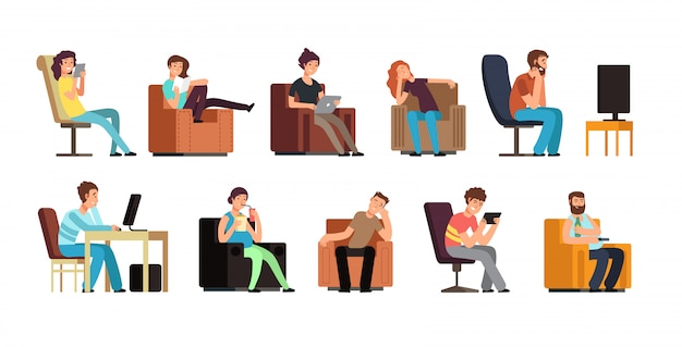 Sedentary man and woman on couch watching tv, phone, reading Premium Vector