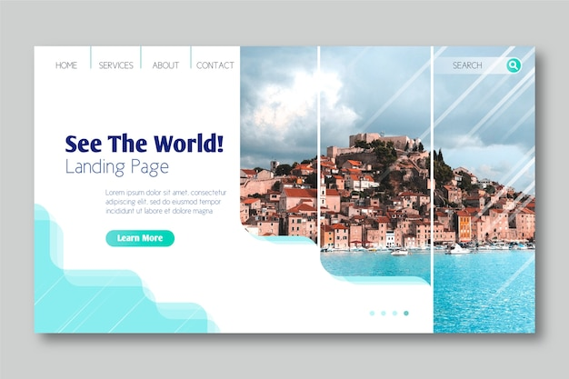 See the world landing page Free Vector