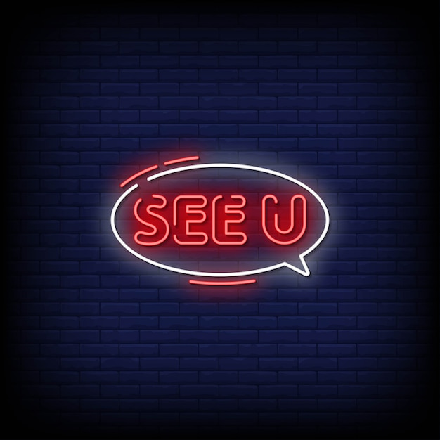 See you neon signs style text Premium Vector