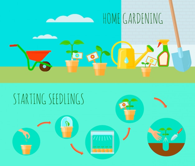 Seedling horizontal banners set with home gardening symbols flat isolated vector illustration Free Vector