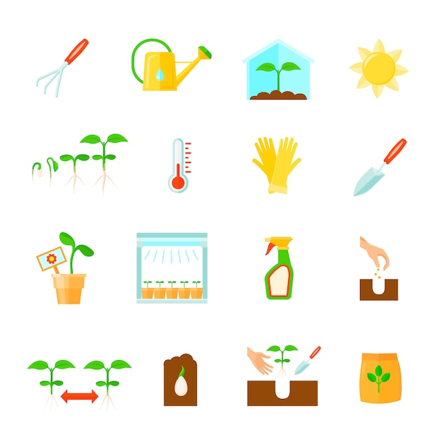 Seedling icons set with equipment symbols flat isolated vector illustration Free Vector