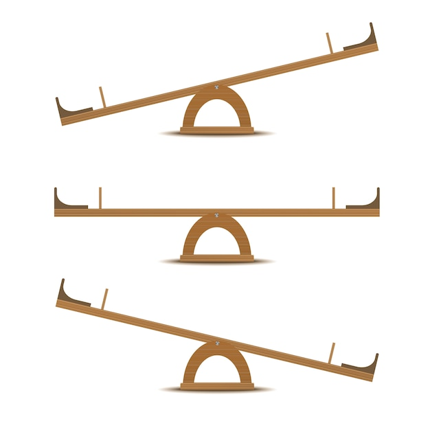 Seesaw or wooden balance scale Premium Vector
