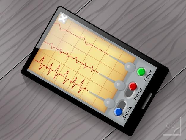 Interfaccia utente dell'app sismografo. schermo e dispositivo, terremoto e onde, grafico sismico Vettore gratuito