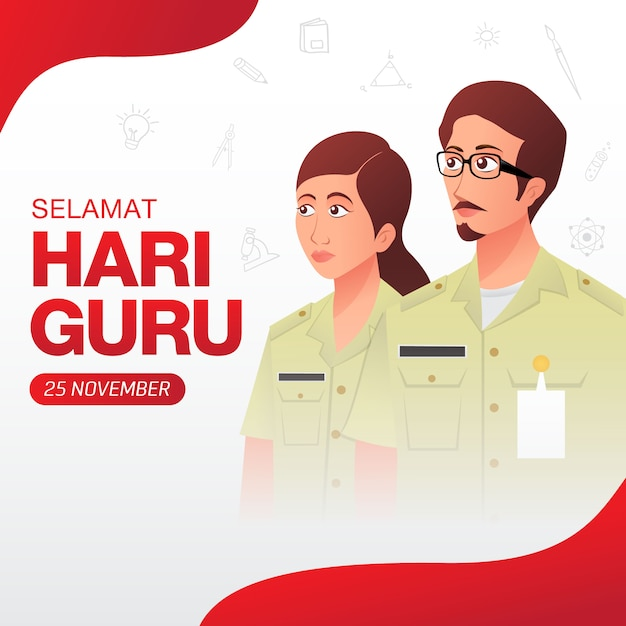 Selamat hari guru. translation: happy teacher's day. indonesian holiday teacher's day illustration. suitable for greeting card, poster and banner Premium Vector
