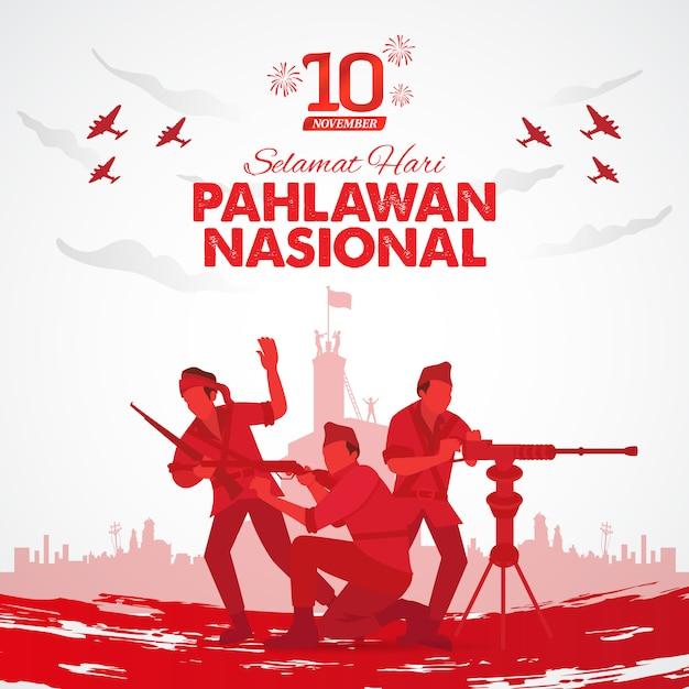 Selamat hari pahlawan nasional. translation: happy indonesian national heroes day.  illustration for greeting card Premium Vector