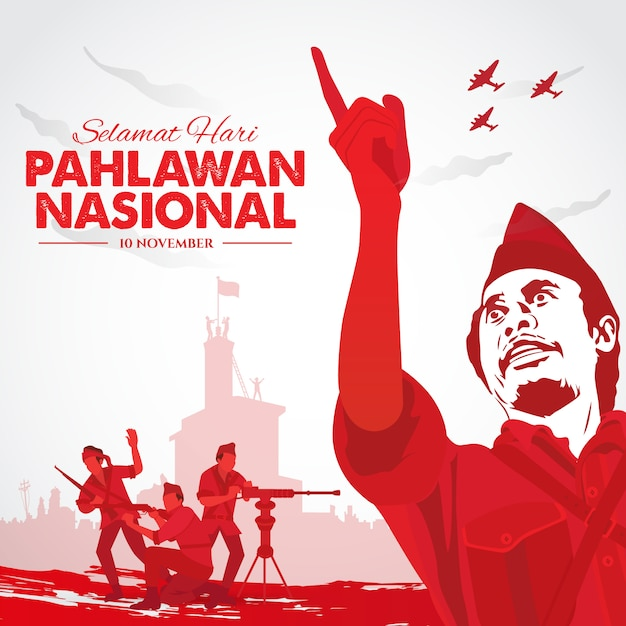 Selamat hari pahlawan nasional. translation: happy indonesian national heroes day.  illustration for greeting card Premium Vector