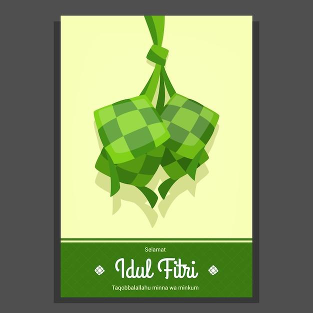 Selamat Idul Fitri Eid Mubarak Card Template