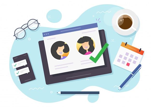 Выбирайте людей онлайн на цифровом компьютере или на сайте знакомств и выбирайте партнершу для отношений Premium векторы