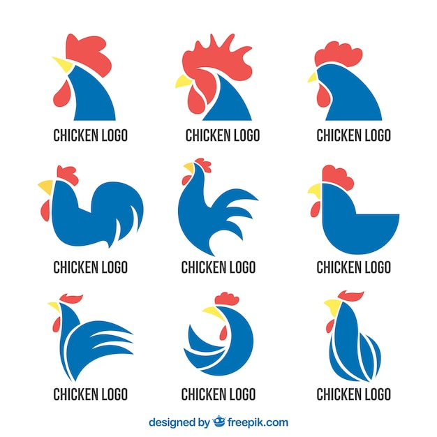 Selection of blue rooster logos Premium Vector