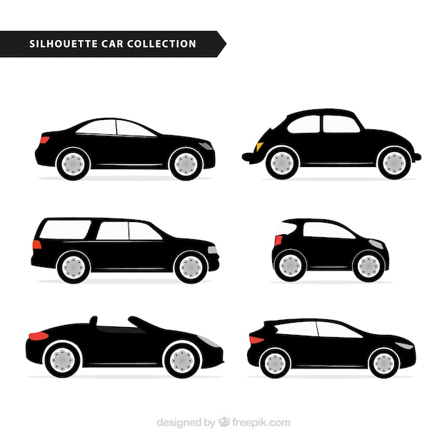 Selection of car silhouettes with color details Free Vector