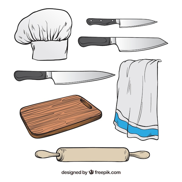 Selection of chef elements in hand-drawn style Free Vector