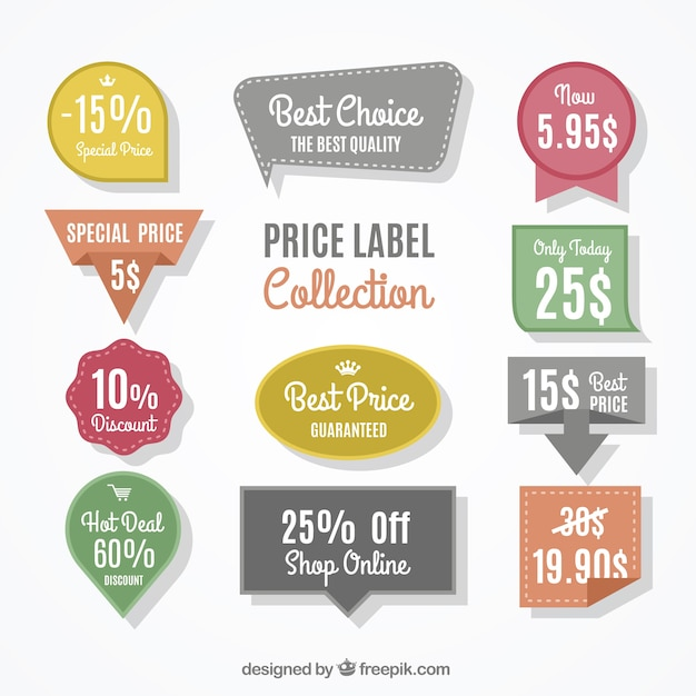 Selection of decorative labels with different prices and discounts Premium Vector
