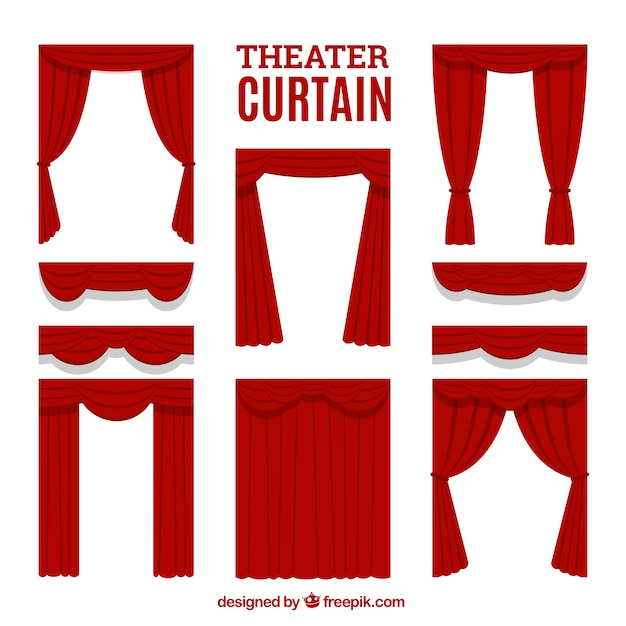 Selection of decorative theater curtains Free Vector