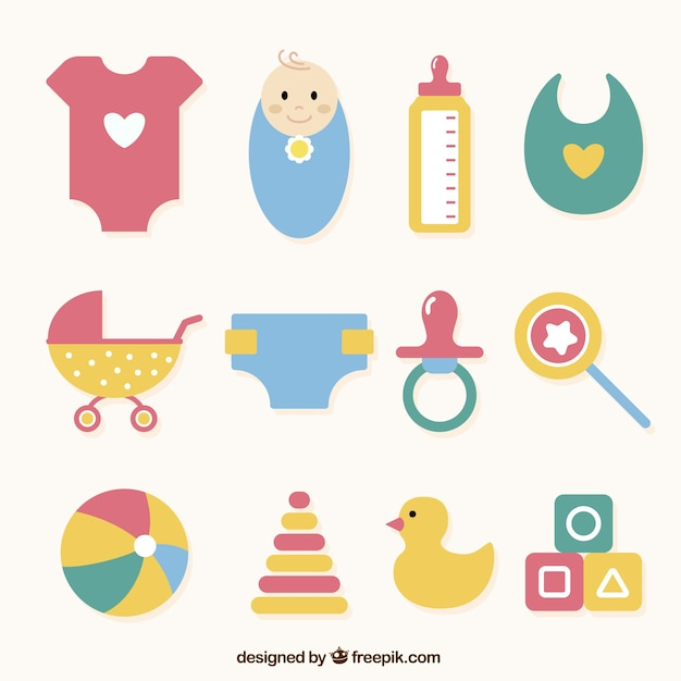 Selection of different baby objects in flat design Free Vector