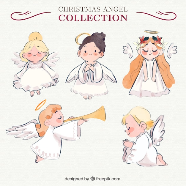 Selection of five adorable angels Free Vector