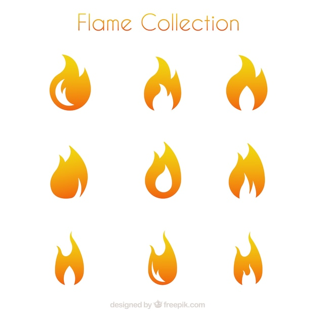Selection of flames in minimalist style Free Vector