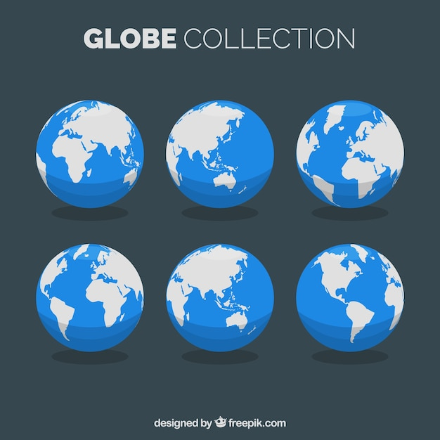 Selection of flat earth globes Free Vector
