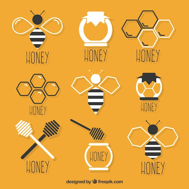 Selection of flat honey elements Free Vector