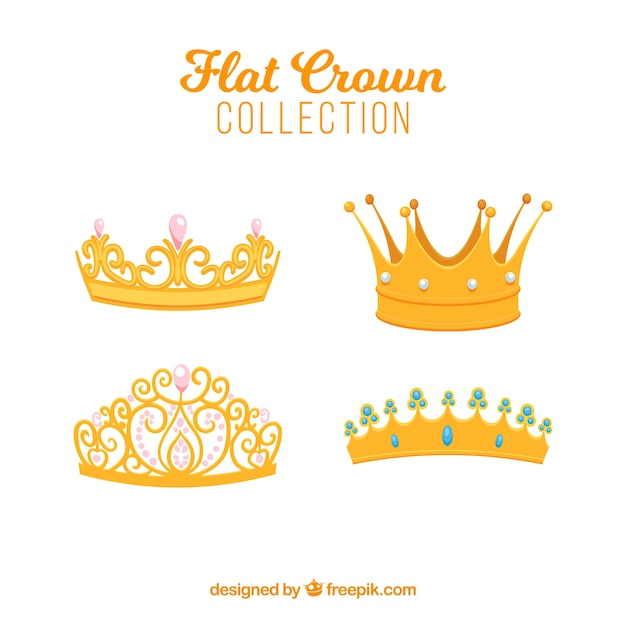 Selection of four flat crowns with decorative gems Free Vector