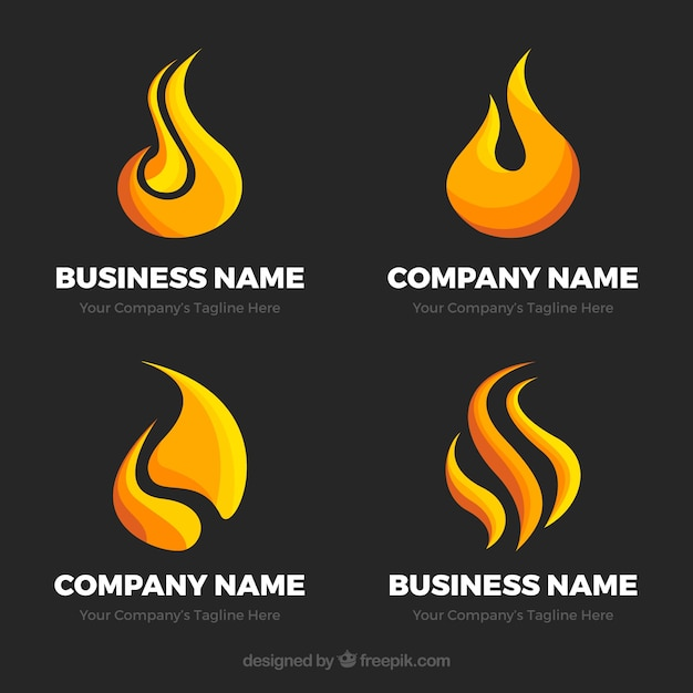 Selection of four flat fame logos Free Vector