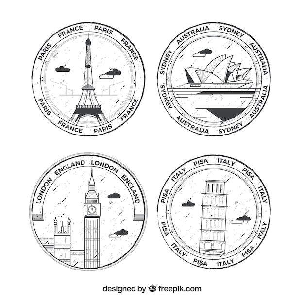 Selection of four round stamps with great cities Free Vector