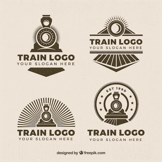 Selection Of Four Train Logos In Retro Style Free Vector