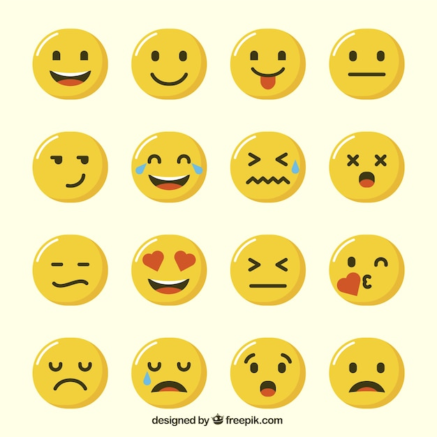 Selection of funny emoticons Free Vector