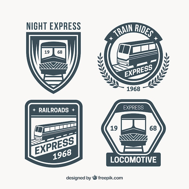 Selection of great train logos Free Vector