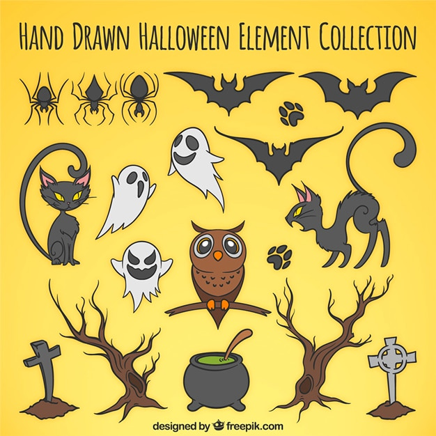 Selection of hand-drawn items for halloween Free Vector