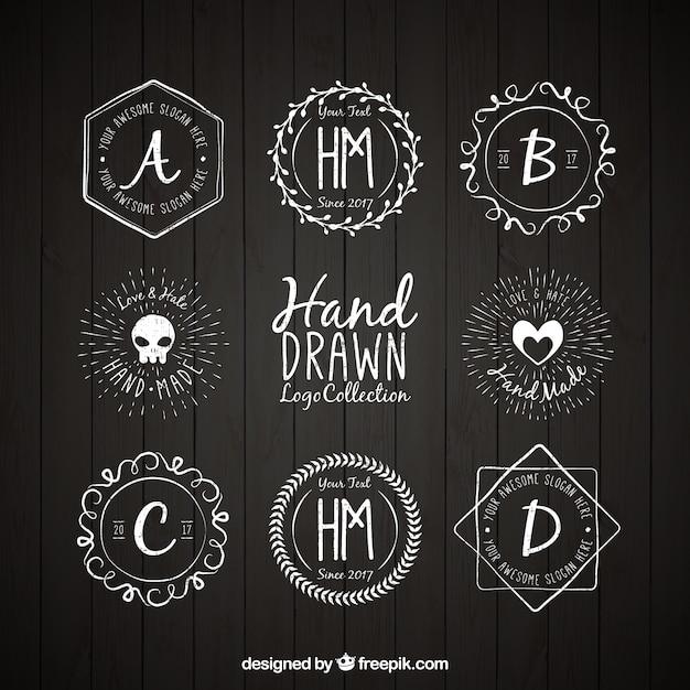 Selection of hand-drawn logos Premium Vector