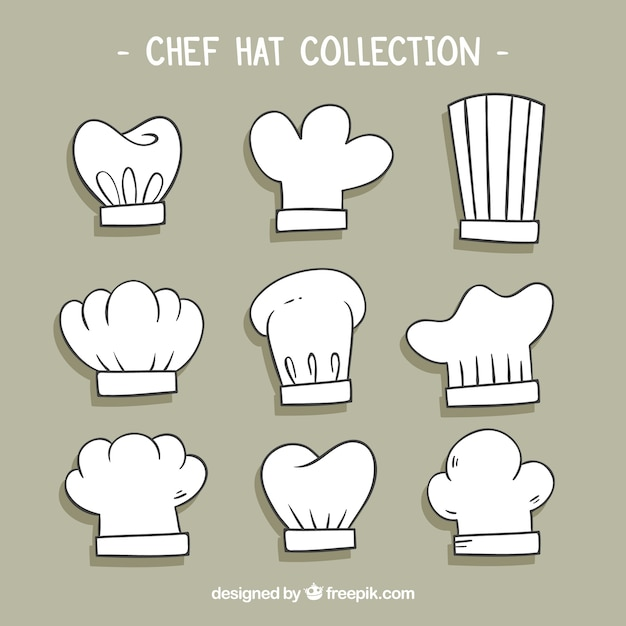 Selection of nine hand-drawn chef hats Free Vector