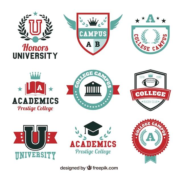 Selezione di nove loghi per il college Vettore gratuito