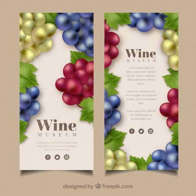 Selection Of Banners With Grapes In Different Colors