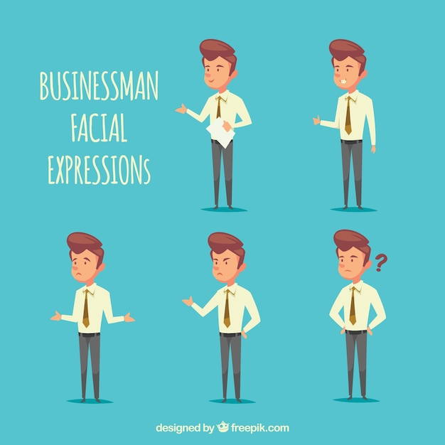 Selection of businessman character with facial expressions Free Vector
